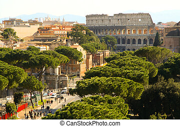Colosseo - Aerial view of the main street that leads to the...