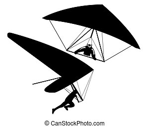 two hang gliders - Two hang gliders on a white background