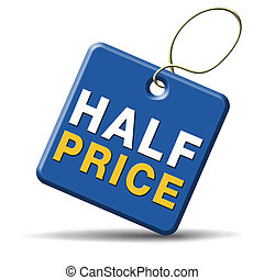 half price sale sign icon label or button 50% sales...