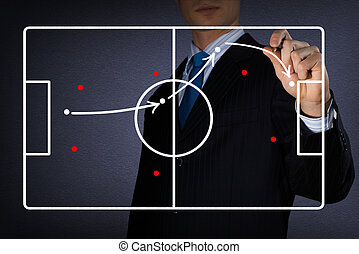 diagram of a football game - image of coach draws a diagram...