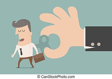 Businessman With Wind-up Key In His Back , eps10 vector...