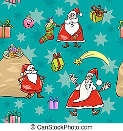 christmas cartoon seamless pattern wrapper - Seamless...