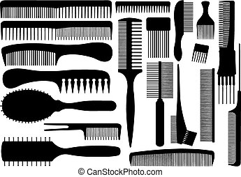 Set Of Different Combs - Set of different combs isolated on...