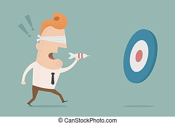 Businessman trying to hit a target with darts , Vector EPS10