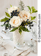 Christmas table decoration - Christmas decoration with white...