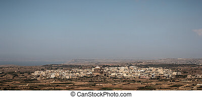 Mgarr Panoramic - The city of Mgarr and its church from the...