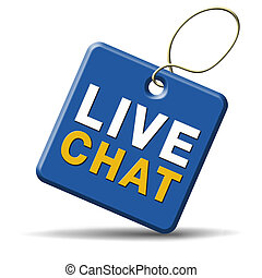 live chat icon. Chatting online button. blue label.