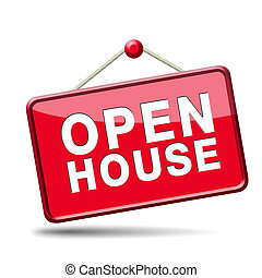 Open house red sign - Open house sign banner or placard for...