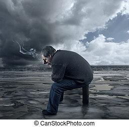 deprimido, jovem, homem, sentando, cadeira, fumar, cigarro