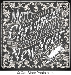 Vintage Greeting Card Text on a Blackboard