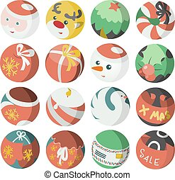 Flat Christmas Icons Objects Collec