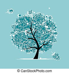 Winter tree with frozen flowers for your design