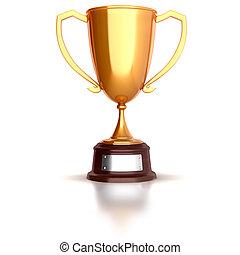 3d gold trophy cup