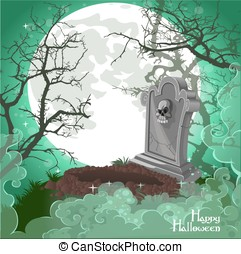 Halloween decorations tombstone on Halloween card