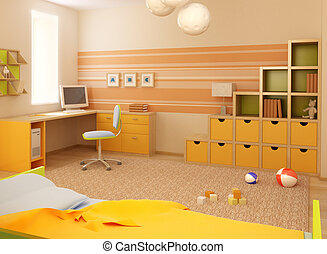 childrens room interior - 3d interior of the childrens room...