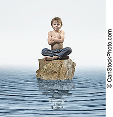 Zen Kid on rock in water
