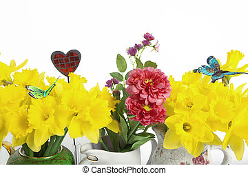 Yellow and red flowers with butter
