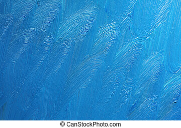 Artistic background - Blue oil paints on canvas with clearly...