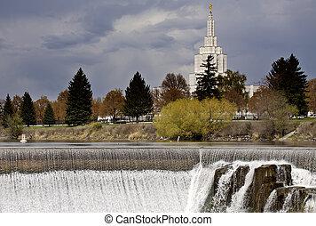 Idaho Falls in Springtime river cascading water morman...