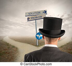 Problem and solution way - Businessman in front of a signal...
