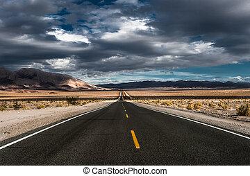 stormy desert highway in death valley