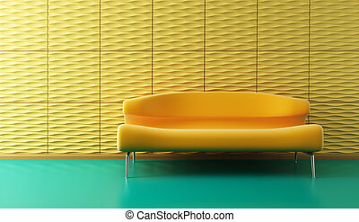 pop-art lounge room with couch - pop-art 3d interior with...