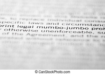 Legal mumbo-jumbo - The words Legal mumbo-jumbo accentuated...