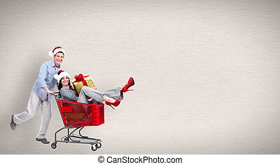 Running people with shopping cart Christmas sale