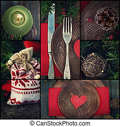 Christmas dinner collage - Restaurant series. Collage of...