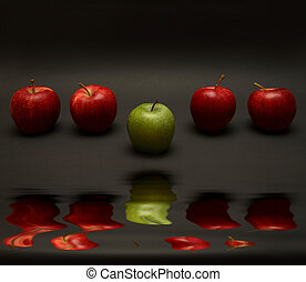 Apple Exception - A line of apples with one exception. (with...
