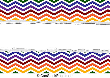 Rainbow Color Chevron Torn  Background for your message or invitation with copy-space in the middle