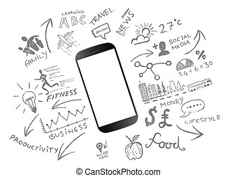 Mobile Productivity. Modern mobile device with communication...