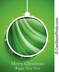 Merry Christmas Happy New Year Ball on Green Background
