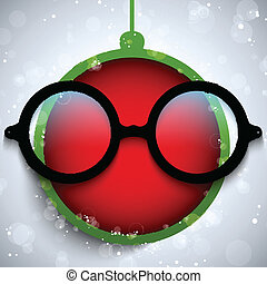 Merry Christmas Red Ball with Glasses - Vector - Merry...