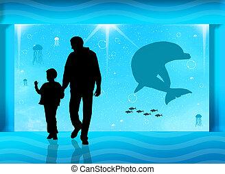 aquarium - visitors in the aquarium