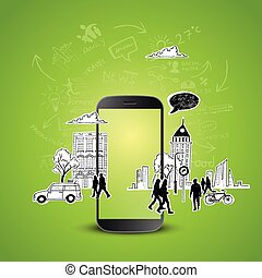 Mobile Productivity Modern mobile device with communication...