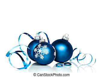 Christmas Ornaments and Ribbon - Christmas ornaments and...
