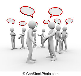 3d people empty speech bubble - 3d illustration of different...