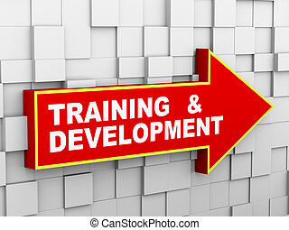 3d abstract cube wall arrow - training and development - 3d...