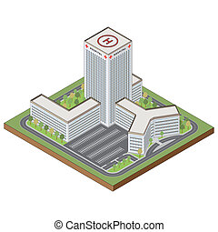 Isometric hospital building - Hospital building highly...