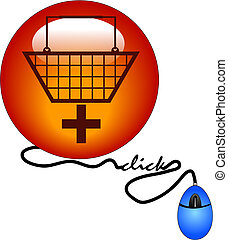 add to cart - shopping basket with plus sign connected to...