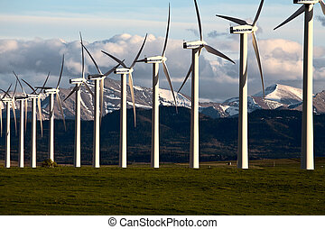 Wind Farm Canada Pincher Creek Rocky Mountains