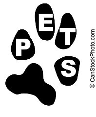 pets inside paw print - paw print with the word pets inside...