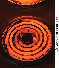 Red hot electric stove - Red hot electric stove in darkness,...