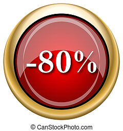 80 percent discount icon - Shiny glossy icon with white...