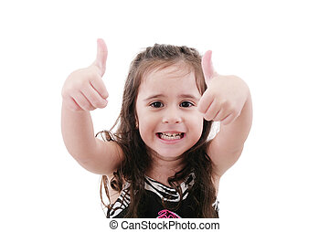 Close up portrait of cute girl showing thumbs up.Isolated on white