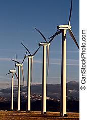 viento, granja, Canadá