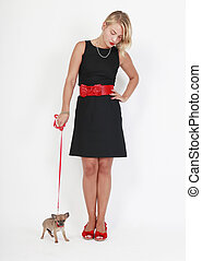 Exercise the puppy walk, at a red leash