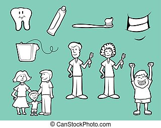 Dental Health Icons - Collection of family dentist cartoons