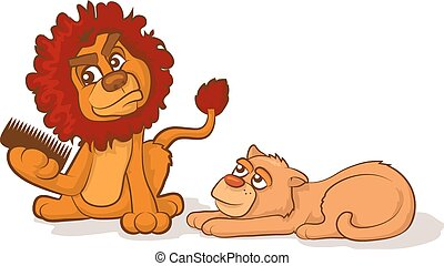 Combing a Lions Mane - Cartoon lion and lioness with tangled...
